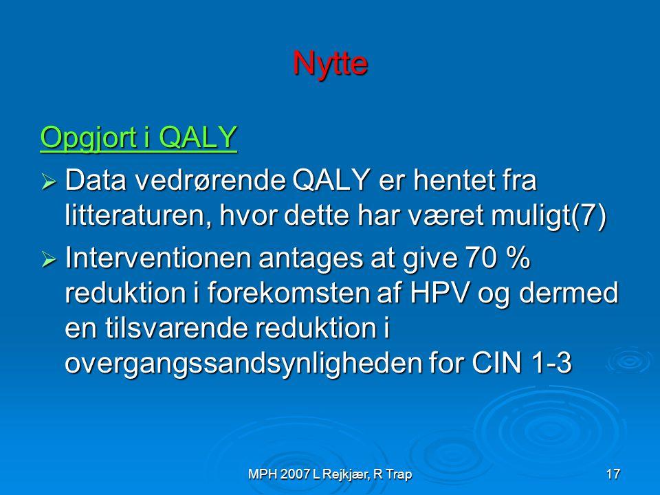 Nytte Opgjort i QALY. Data vedrørende QALY er hentet fra litteraturen, hvor dette har været muligt(7)