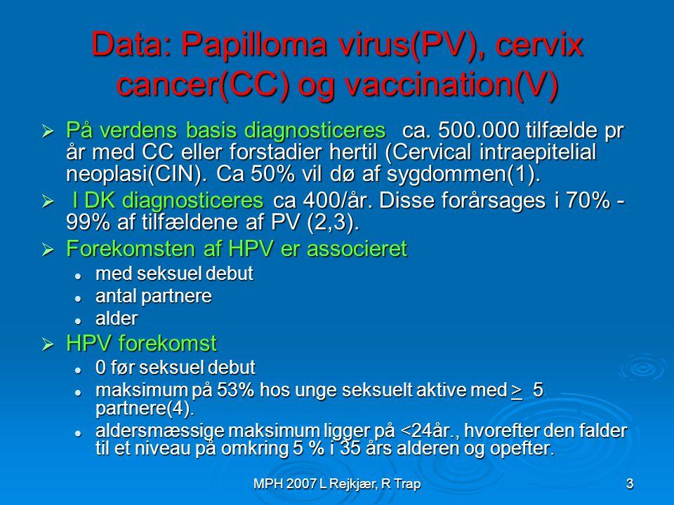 Data: Papilloma virus(PV), cervix cancer(CC) og vaccination(V)