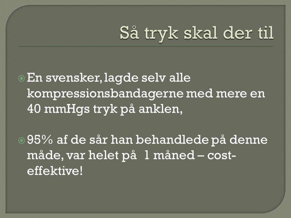 Så tryk skal der til En svensker, lagde selv alle kompressionsbandagerne med mere en 40 mmHgs tryk på anklen,