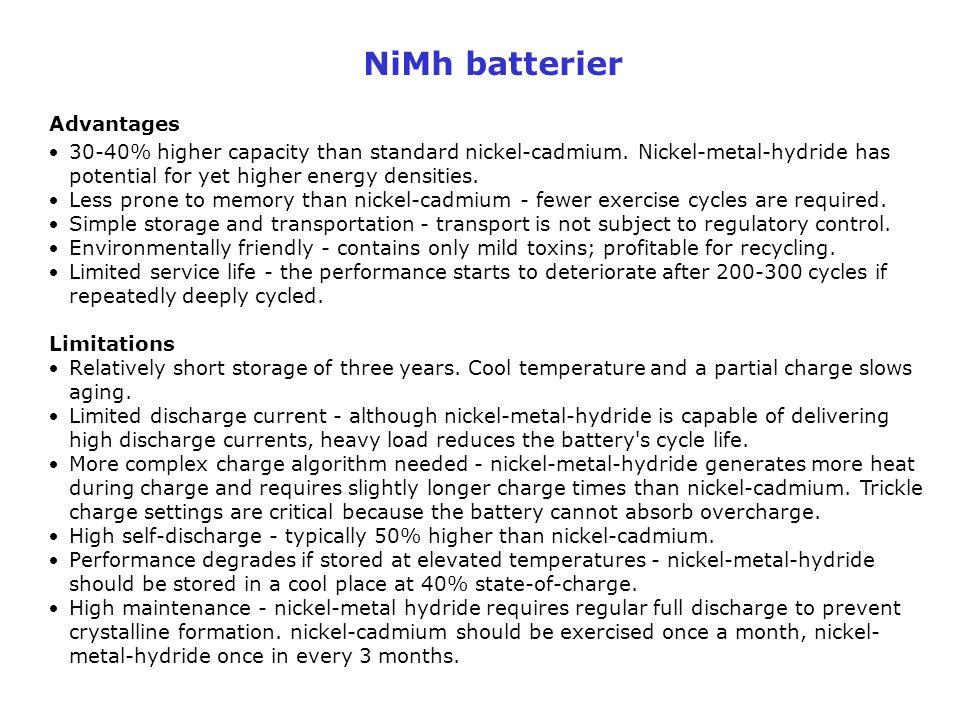 NiMh batterier Advantages