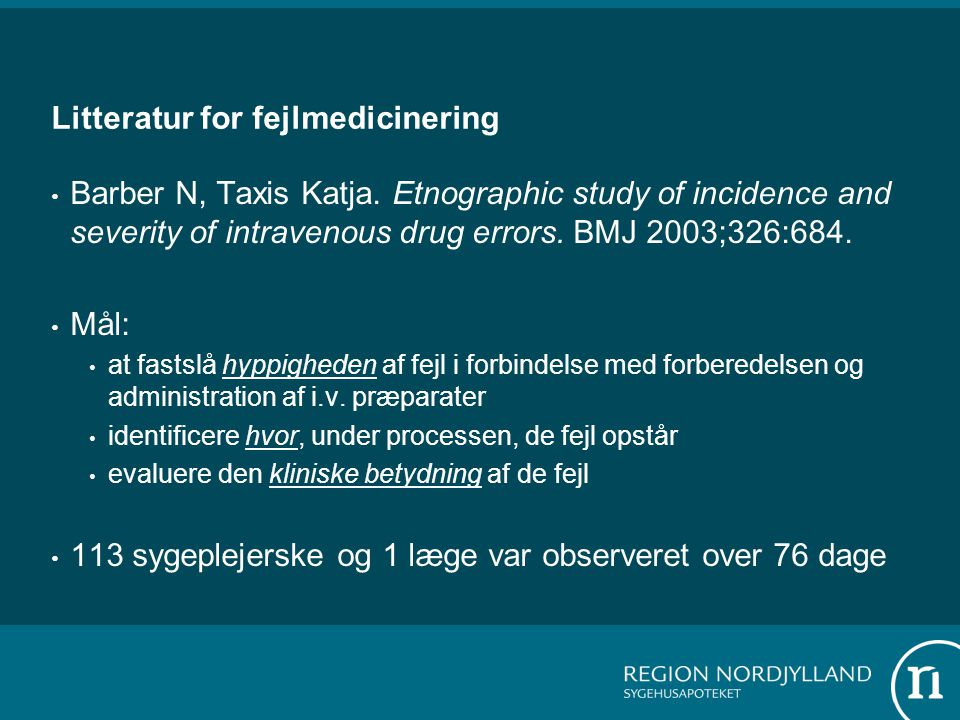 Litteratur for fejlmedicinering
