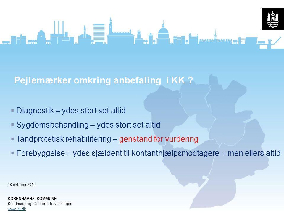 Pejlemærker omkring anbefaling i KK