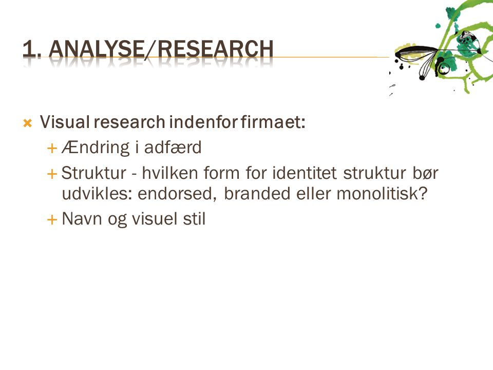 1. Analyse/research Visual research indenfor firmaet: Ændring i adfærd