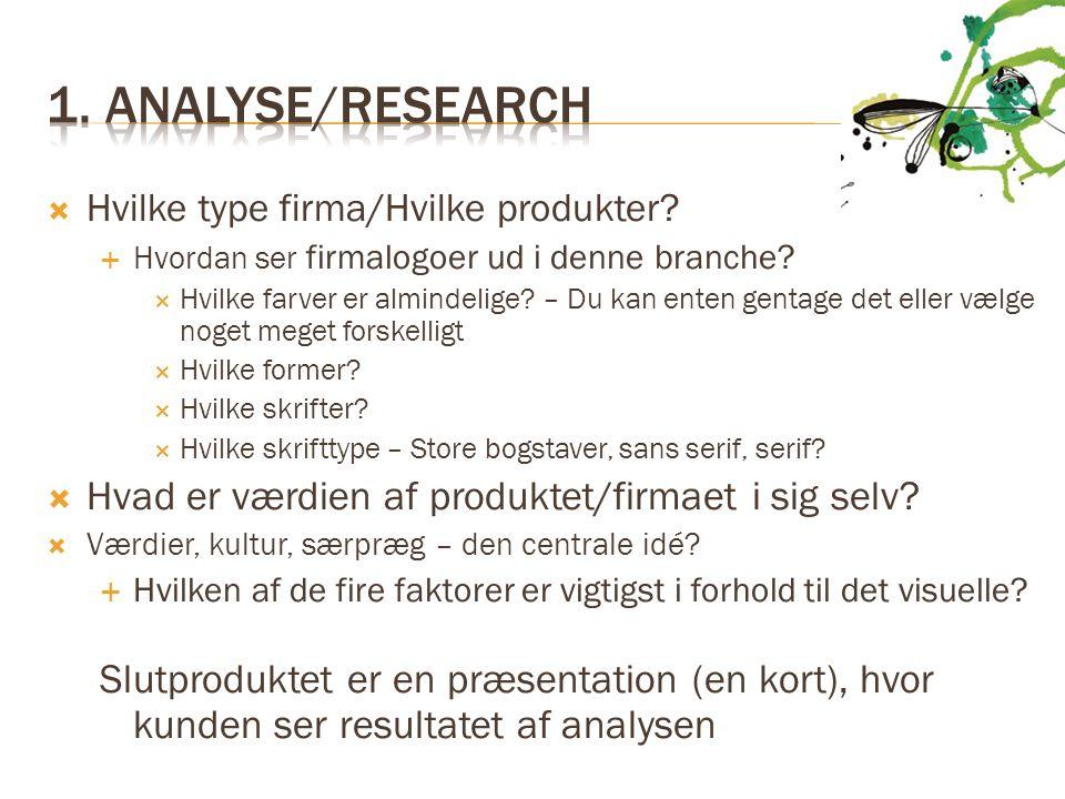 1. Analyse/research Hvad er værdien af produktet/firmaet i sig selv