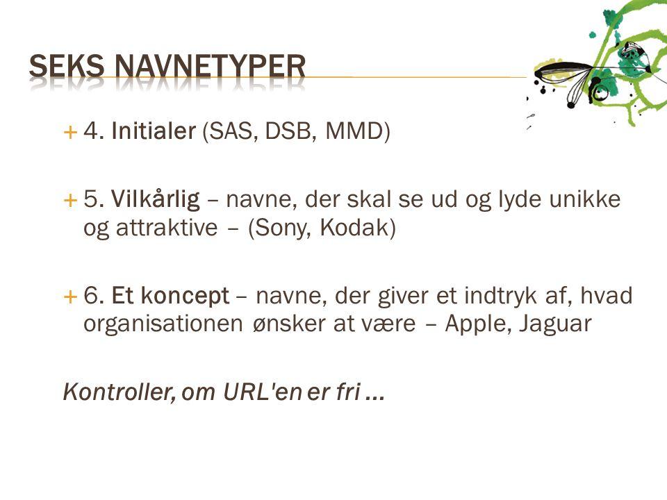 Seks Navnetyper 4. Initialer (SAS, DSB, MMD)