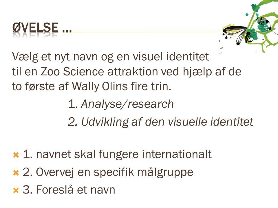 Øvelse ... Vælg et nyt navn og en visuel identitet til en Zoo Science attraktion ved hjælp af de to første af Wally Olins fire trin.