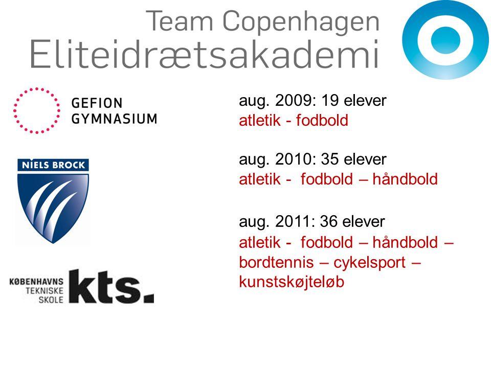 aug. 2009: 19 elever atletik - fodbold. aug. 2010: 35 elever. atletik - fodbold – håndbold. aug. 2011: 36 elever.