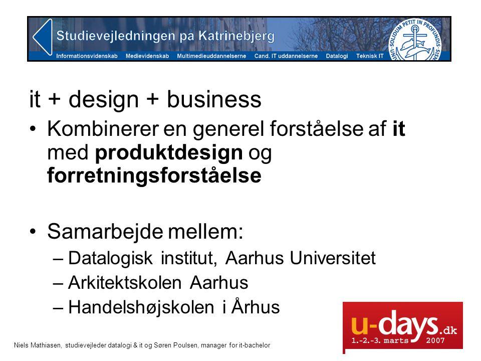it + design + business Kombinerer en generel forståelse af it med produktdesign og forretningsforståelse.