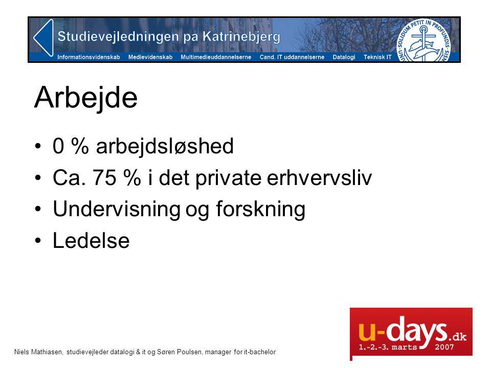 Arbejde 0 % arbejdsløshed Ca. 75 % i det private erhvervsliv