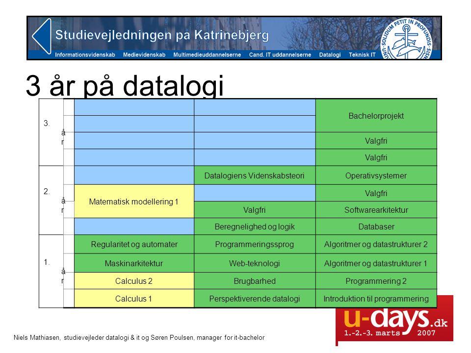 3 år på datalogi 3. år Bachelorprojekt Valgfri 2. år