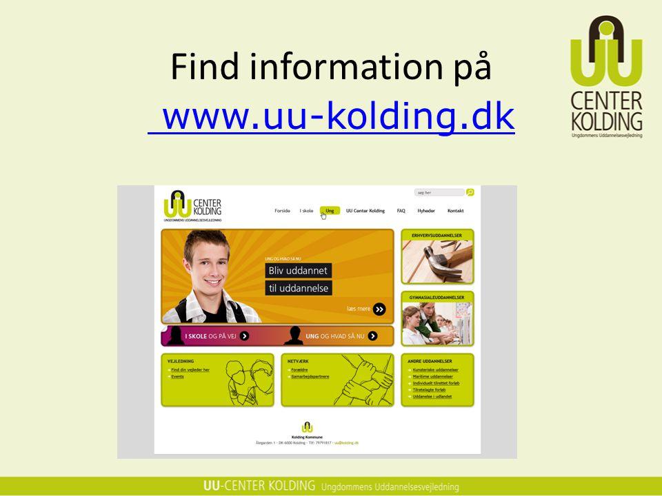 Find information på www.uu-kolding.dk