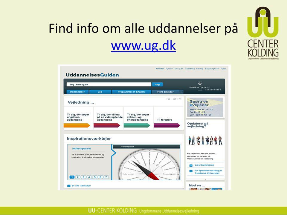Find info om alle uddannelser på www.ug.dk