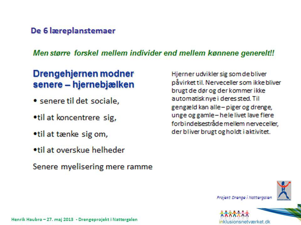 Henrik Haubro – 27. maj 2013 - Drengeprojekt i Nattergalen