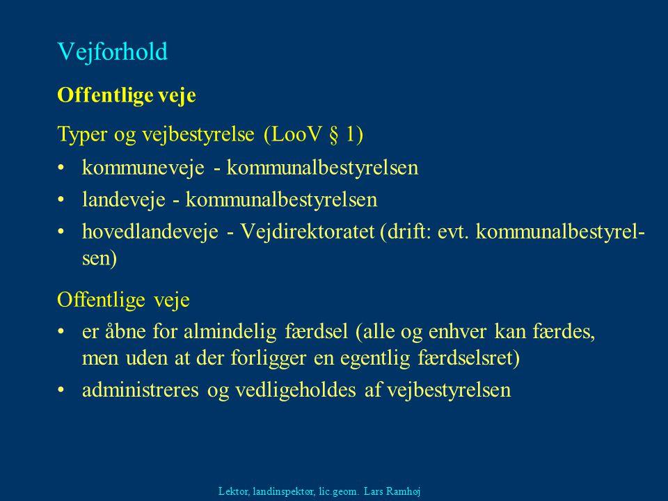 Vejforhold Offentlige veje Typer og vejbestyrelse (LooV § 1)
