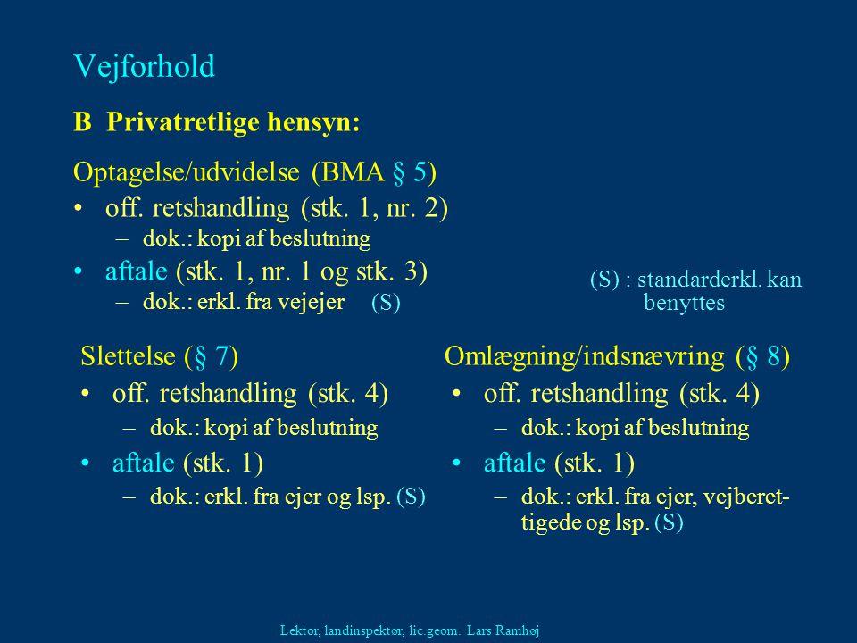 Vejforhold B Privatretlige hensyn: Optagelse/udvidelse (BMA § 5)