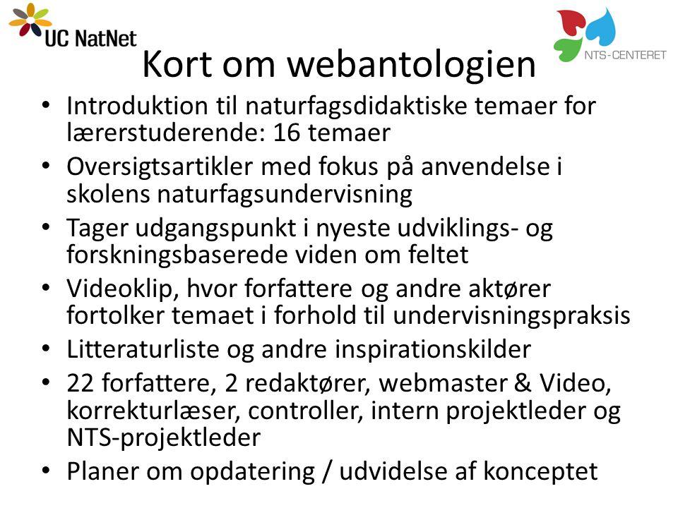 Kort om webantologien Introduktion til naturfagsdidaktiske temaer for lærerstuderende: 16 temaer.