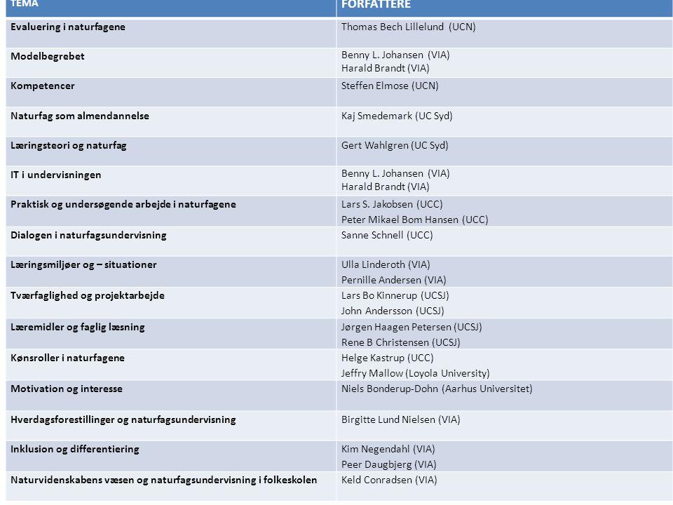 FORFATTERE TEMA Evaluering i naturfagene Thomas Bech Lillelund (UCN)