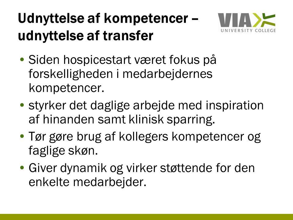 Udnyttelse af kompetencer –udnyttelse af transfer