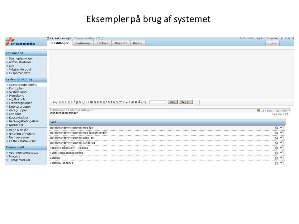 Eksempler på brug af systemet
