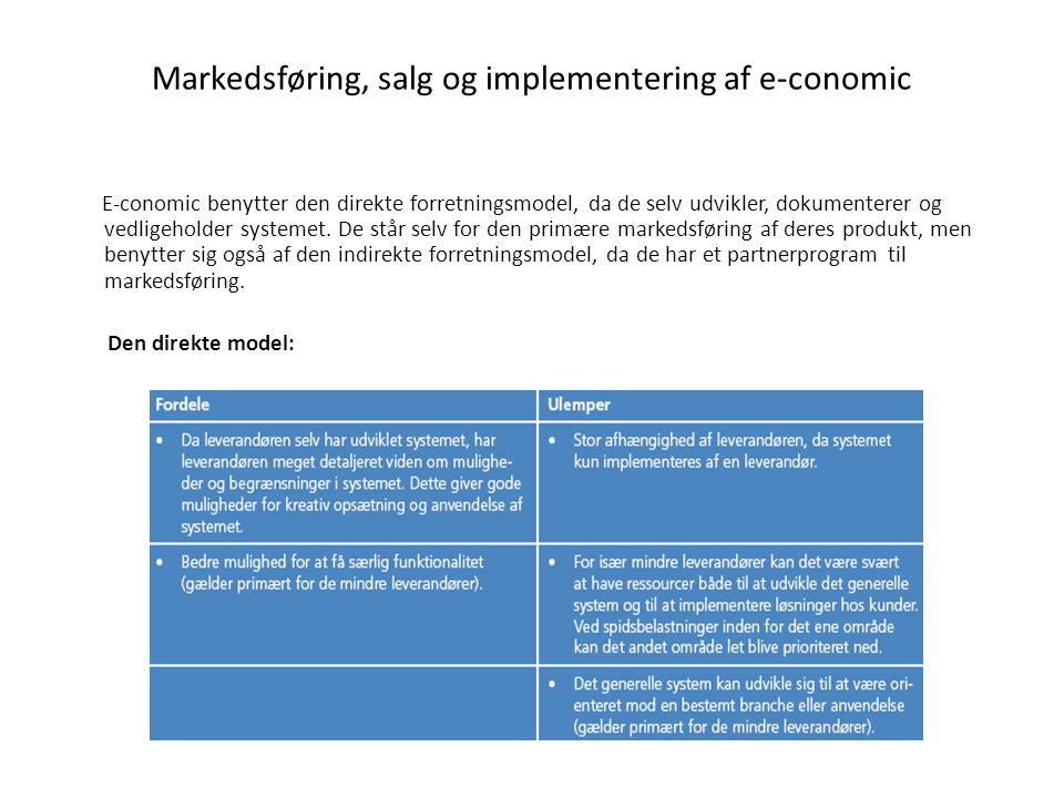 Markedsføring, salg og implementering af e-conomic