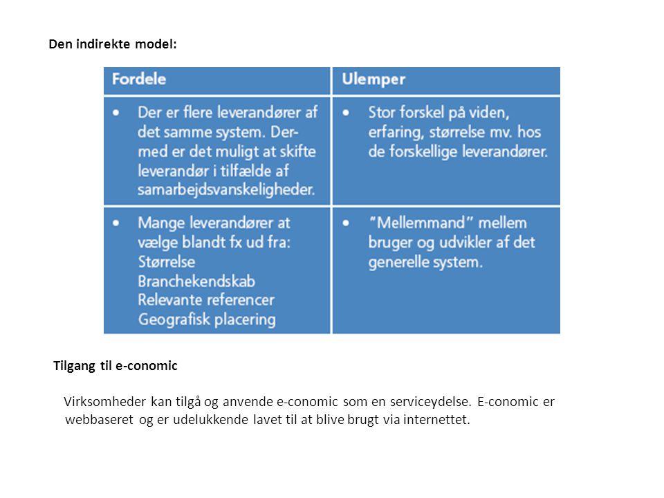 Den indirekte model: Tilgang til e-conomic.