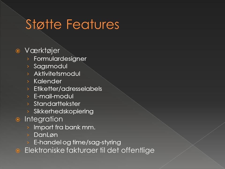 Støtte Features Værktøjer Integration