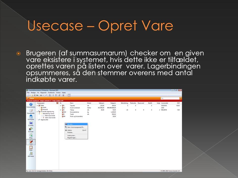 Usecase – Opret Vare