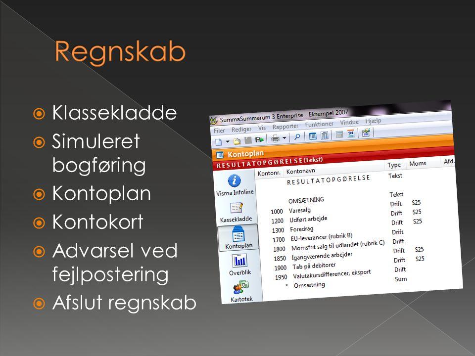 Regnskab Klassekladde Simuleret bogføring Kontoplan Kontokort