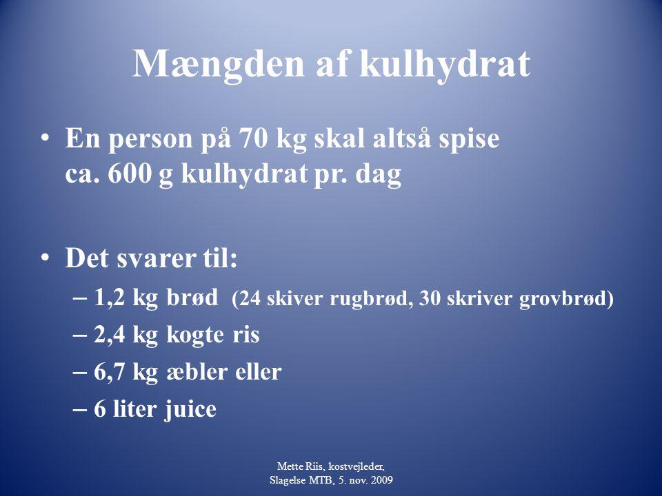 Mette Riis, kostvejleder, Slagelse MTB, 5. nov. 2009