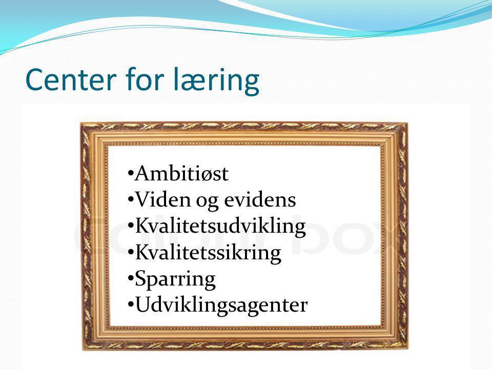 Center for læring Ambitiøst Viden og evidens Kvalitetsudvikling