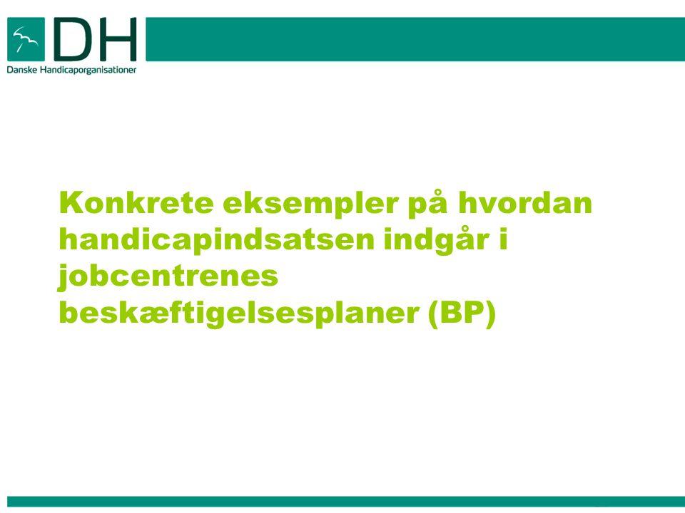 Konkrete eksempler på hvordan handicapindsatsen indgår i jobcentrenes beskæftigelsesplaner (BP)