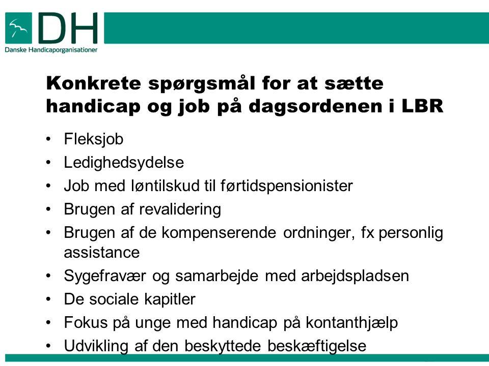 Konkrete spørgsmål for at sætte handicap og job på dagsordenen i LBR