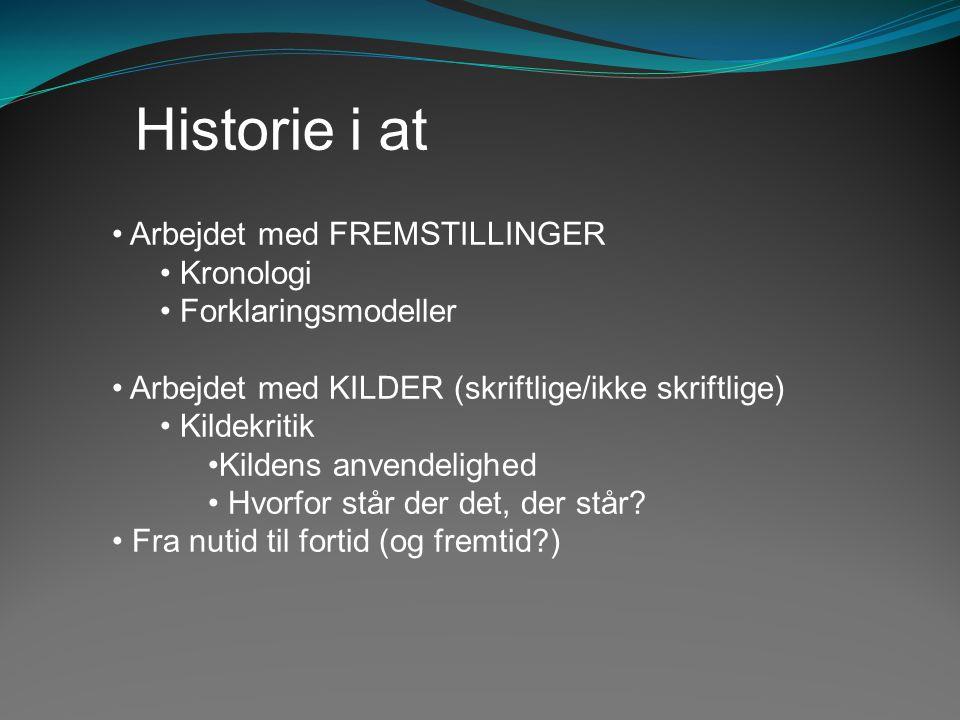 Historie i at Arbejdet med FREMSTILLINGER Kronologi