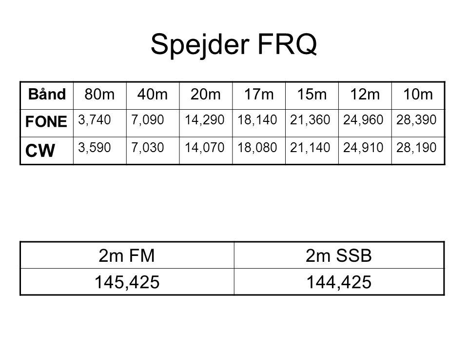 Spejder FRQ CW 2m FM 2m SSB 145,425 144,425 Bånd 80m 40m 20m 17m 15m