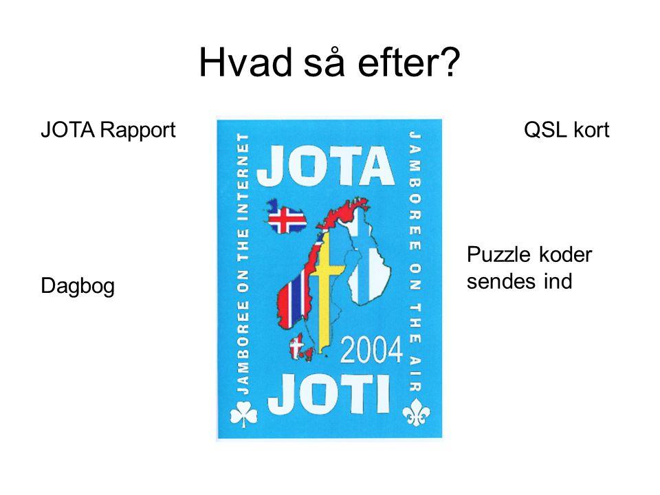 Hvad så efter JOTA Rapport QSL kort Puzzle koder sendes ind Dagbog