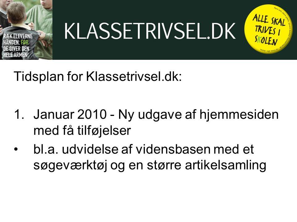 Tidsplan for Klassetrivsel.dk: