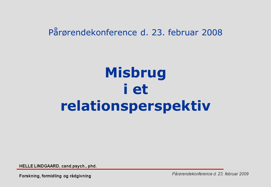 Pårørendekonference d. 23