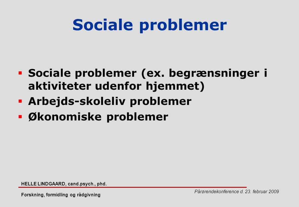 Sociale problemer Sociale problemer (ex. begrænsninger i aktiviteter udenfor hjemmet) Arbejds-skoleliv problemer.
