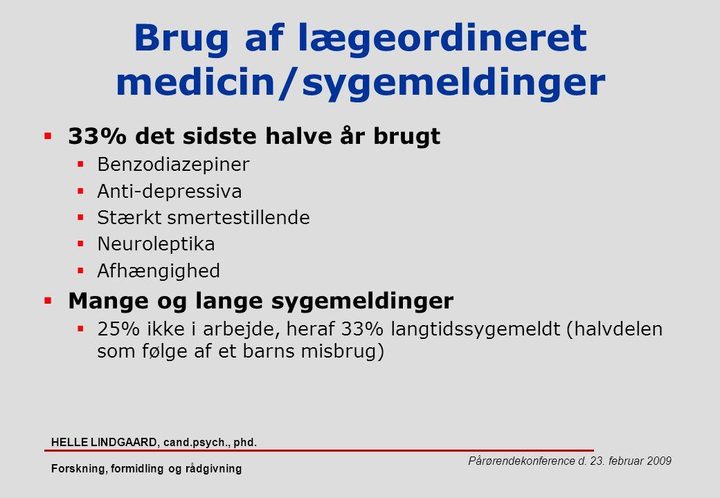 Brug af lægeordineret medicin/sygemeldinger
