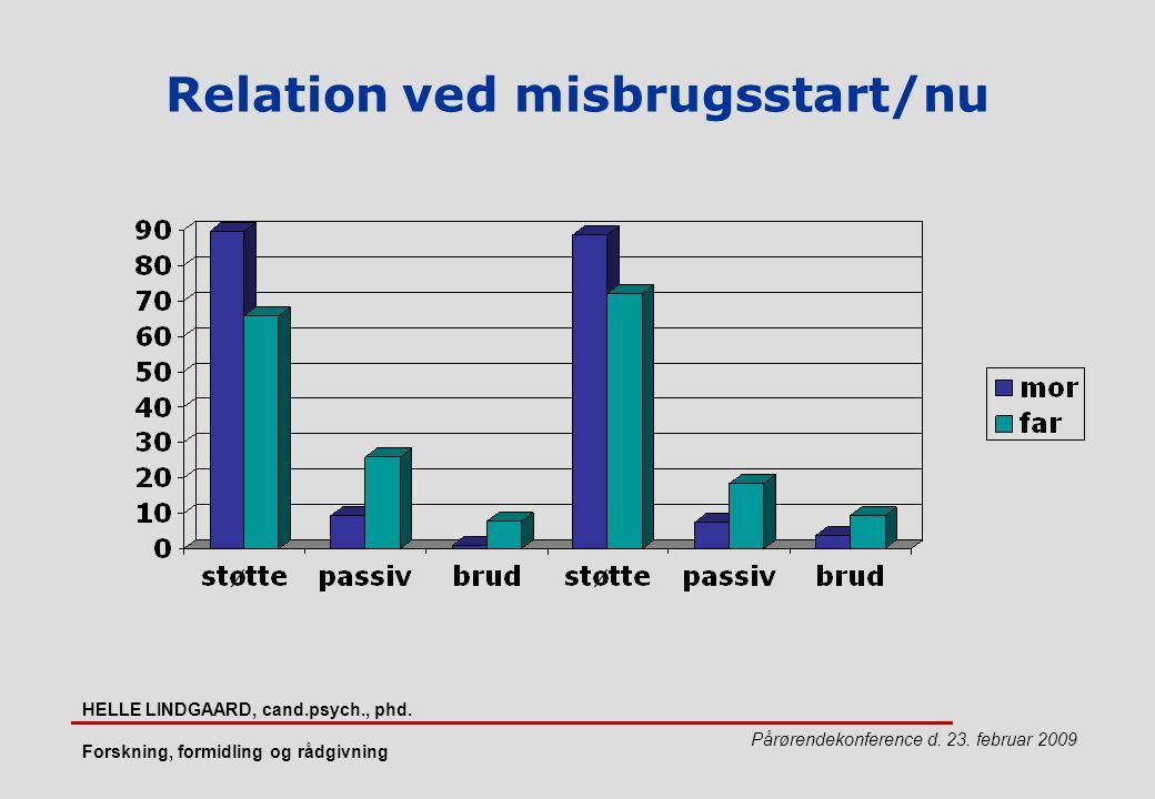 Relation ved misbrugsstart/nu