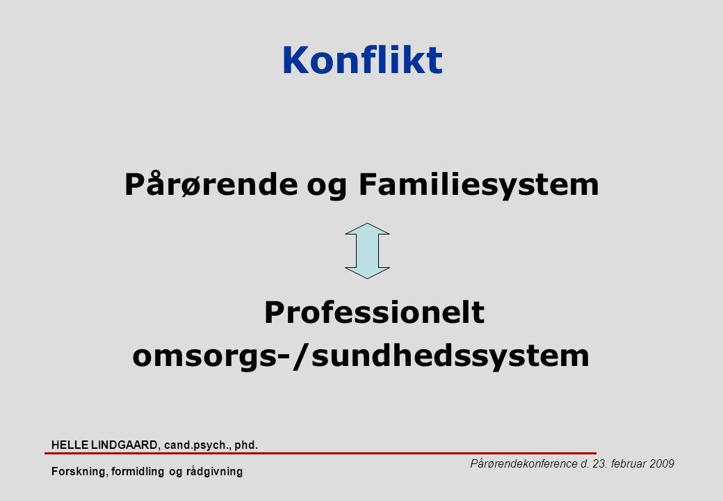 Pårørende og Familiesystem omsorgs-/sundhedssystem