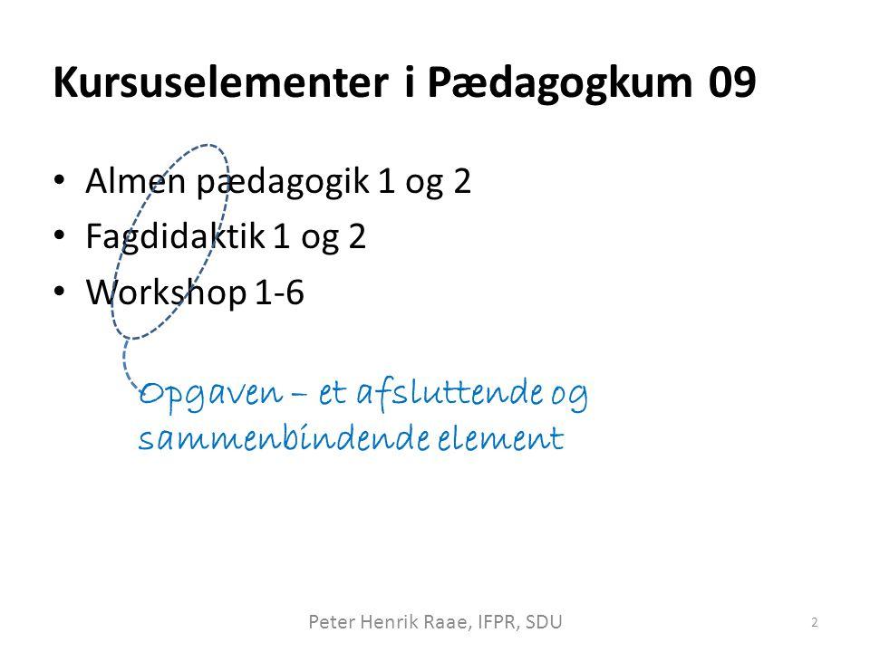 Kursuselementer i Pædagogkum 09