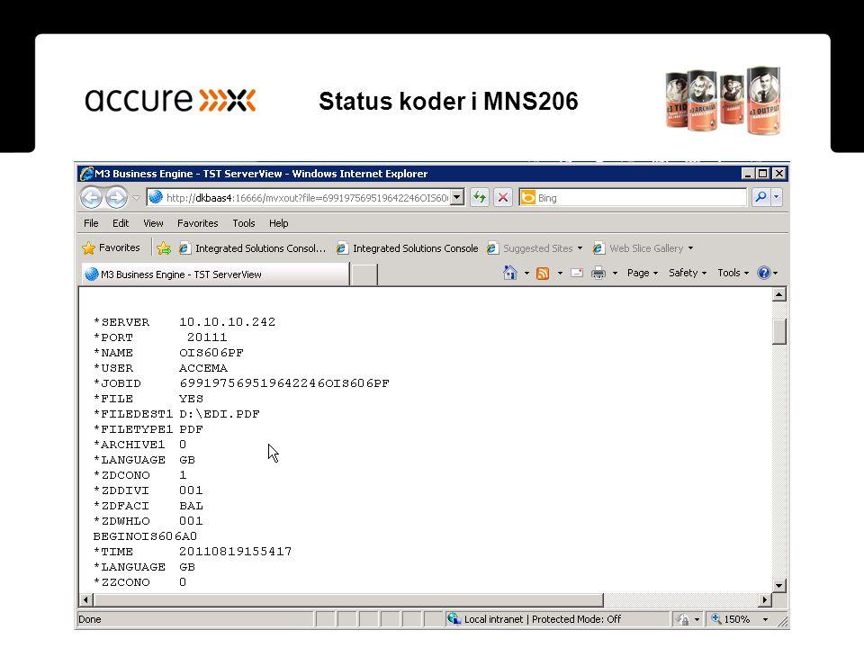 Status koder i MNS206