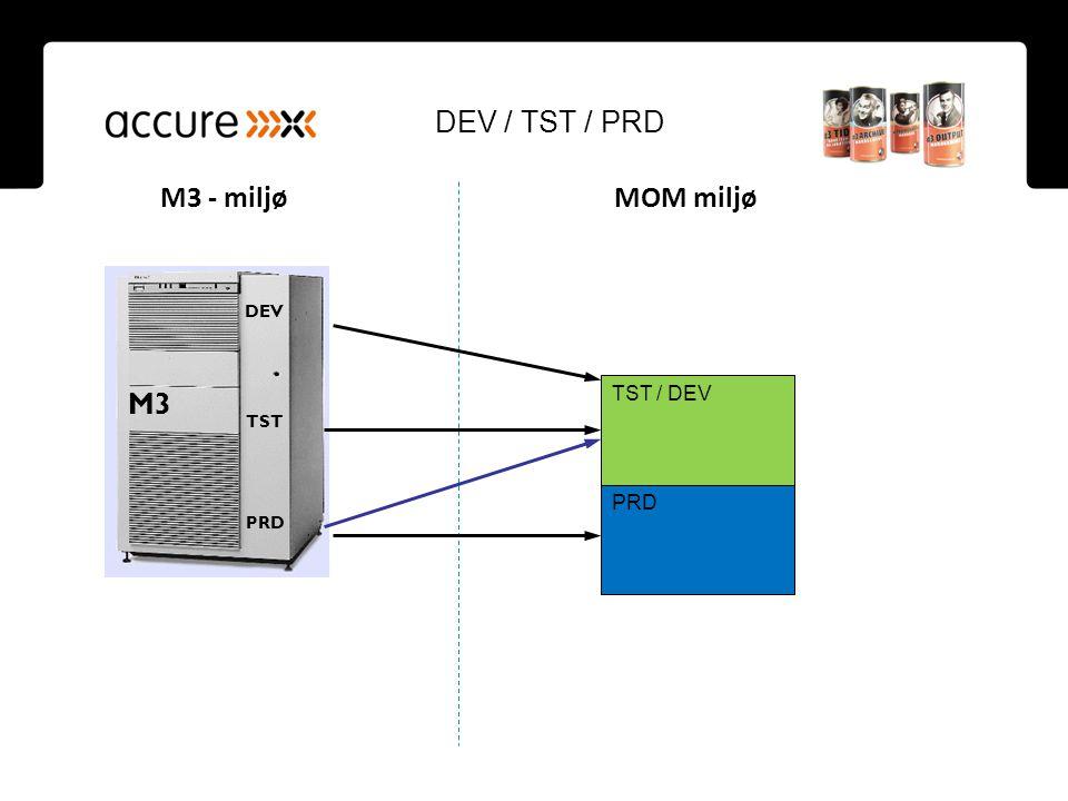 DEV / TST / PRD M3 - miljø MOM miljø. DEV. M3. TST / DEV. TST.