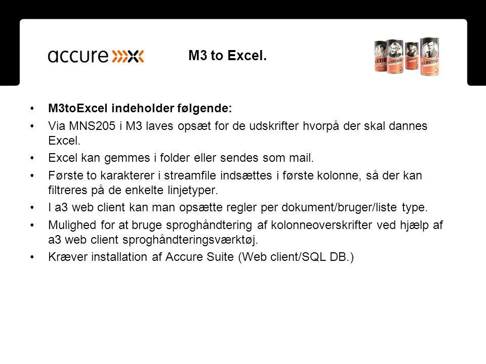 M3 to Excel. M3toExcel indeholder følgende: