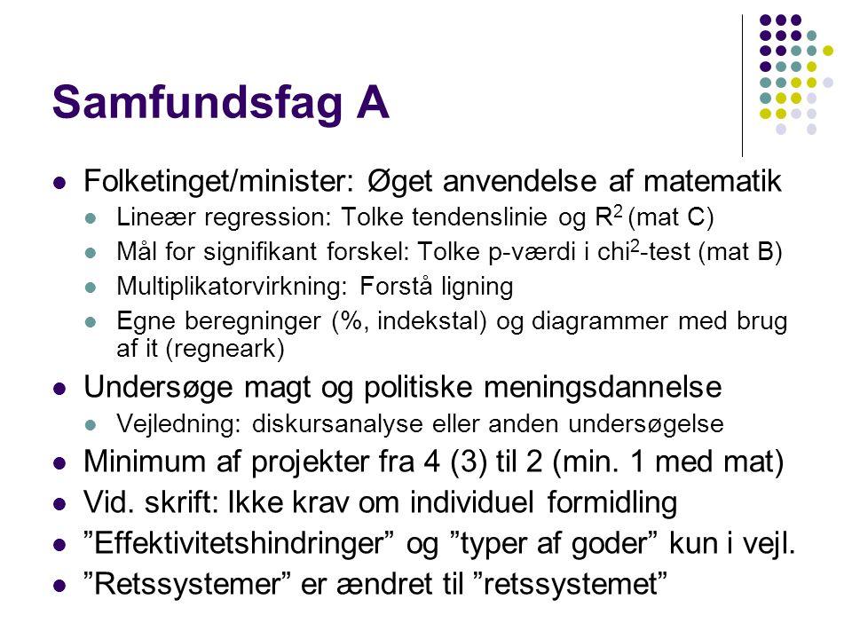 Samfundsfag A Folketinget/minister: Øget anvendelse af matematik