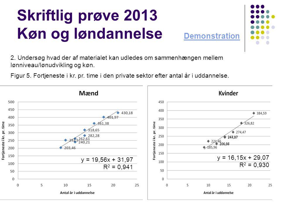 Skriftlig prøve 2013 Køn og løndannelse Demonstration