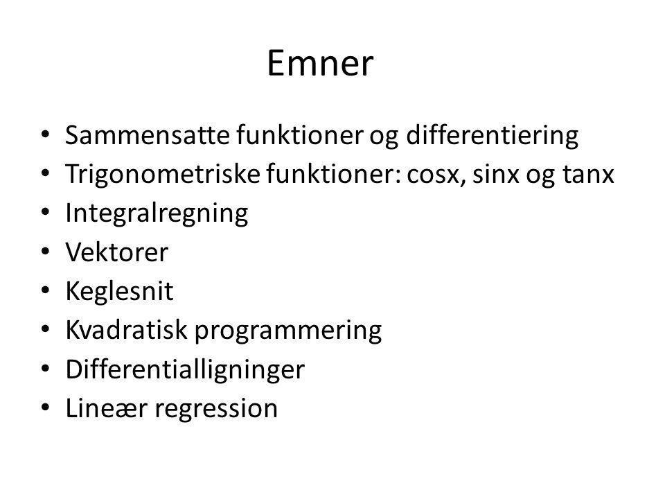 Emner Sammensatte funktioner og differentiering
