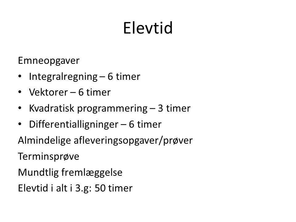 Elevtid Emneopgaver Integralregning – 6 timer Vektorer – 6 timer