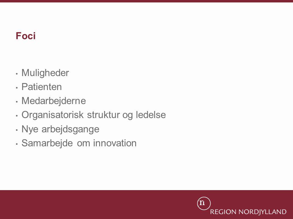 Foci Muligheder. Patienten. Medarbejderne. Organisatorisk struktur og ledelse. Nye arbejdsgange.